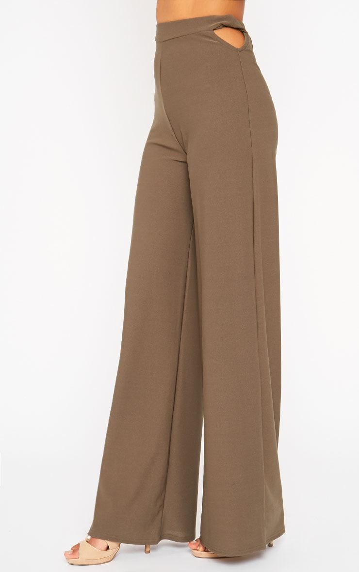 Elphina Khaki Cut Out Palazzo Trousers 3