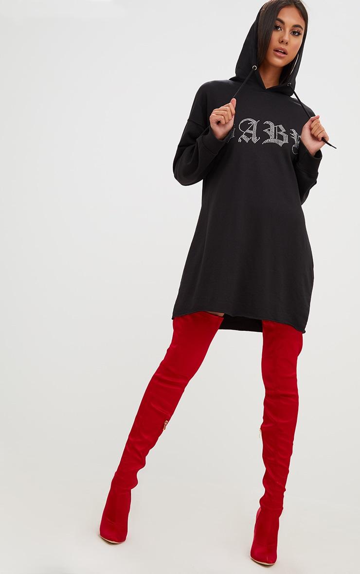 Black Loop Back Baby Diamante Hooded Sweater Dress 4