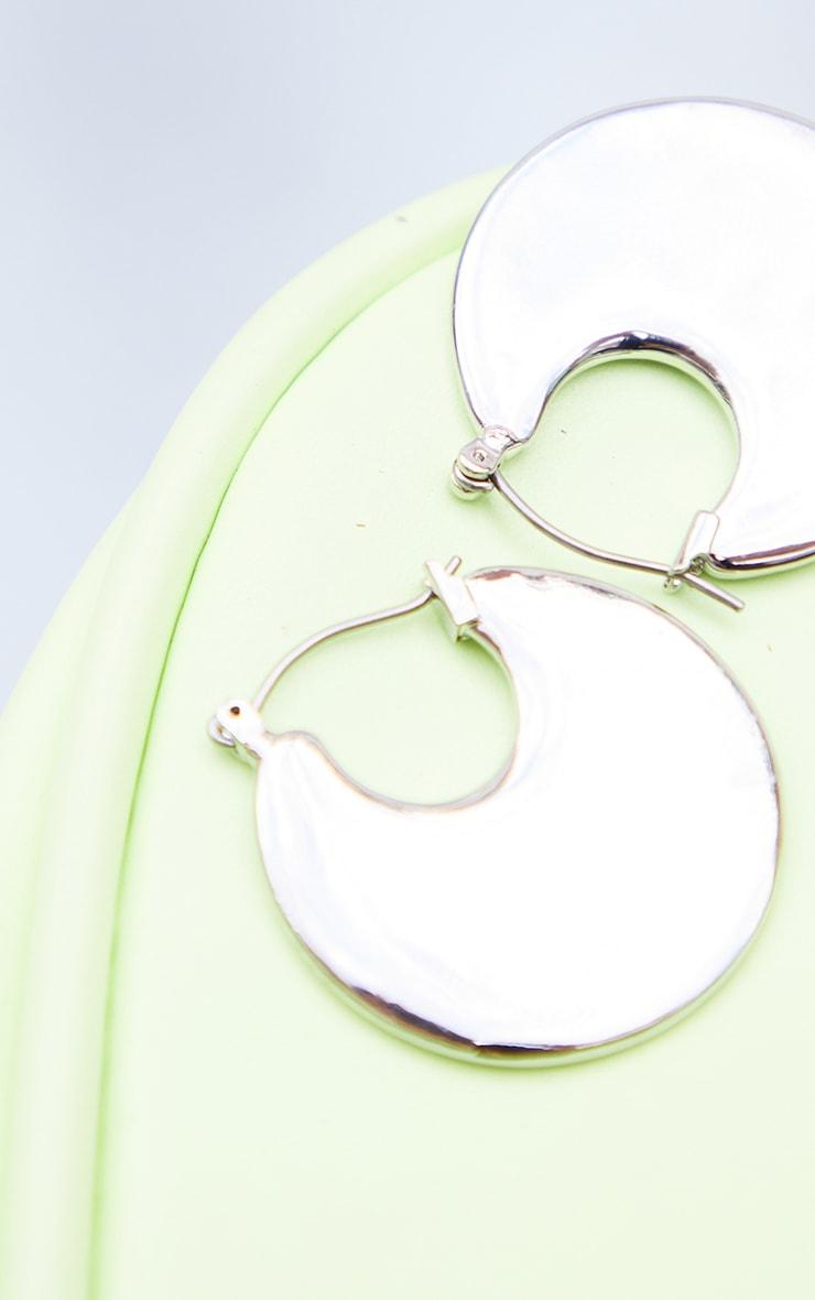 Silver Disc Hoop Earrings 2