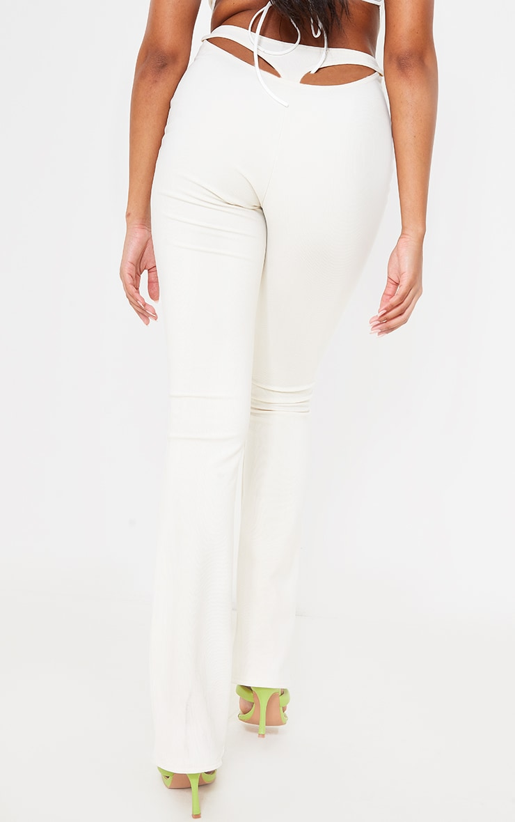 Cream Textured Rib Cut Out Bum Detail Skinny Flares 3