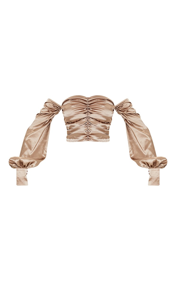 Tall Mocha Satin Ruched Long Sleeve Crop Top 5