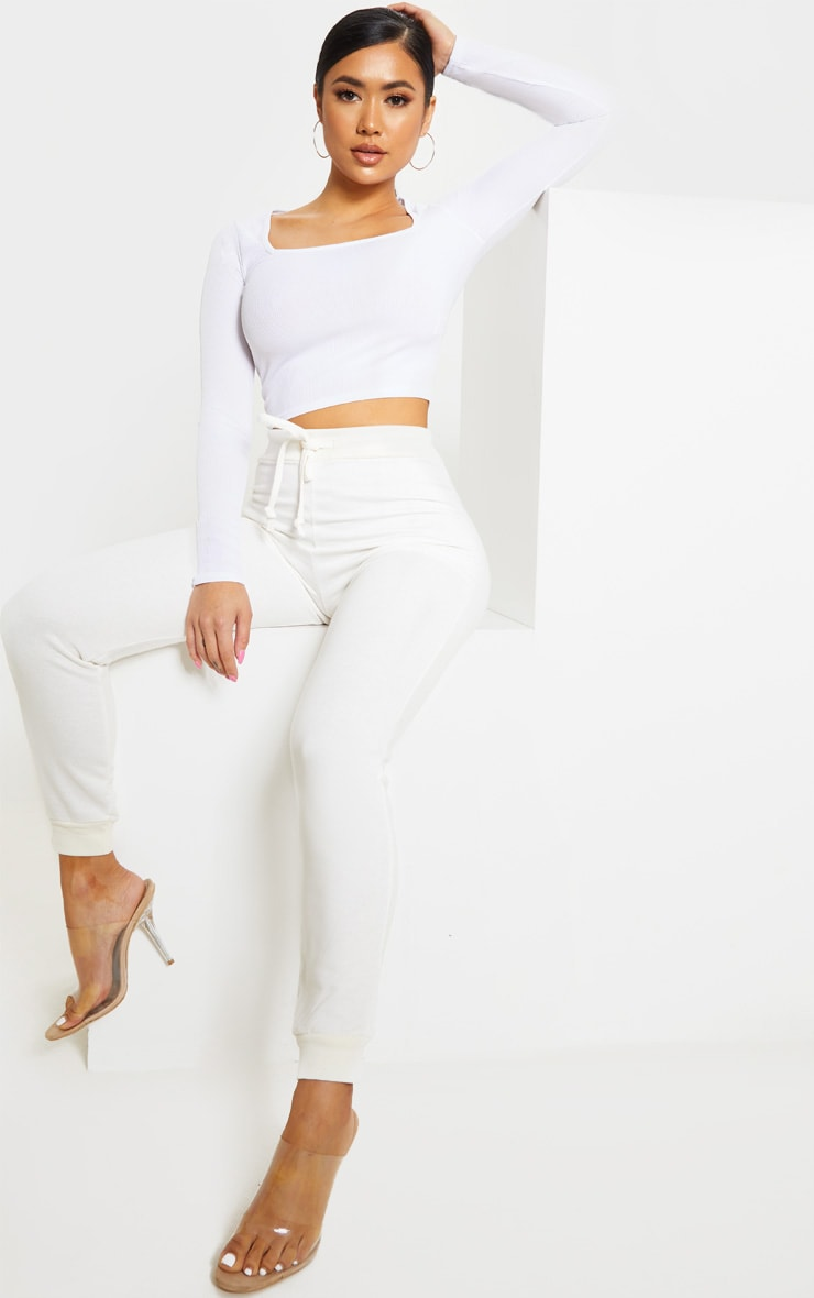 Petite White Square Neck Ribbed Long Sleeve Crop Top 4