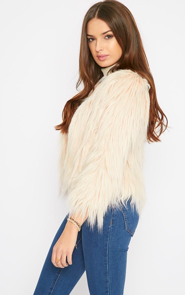 Pamela Blush Mongolian Faux Fur Cropped Coat  4