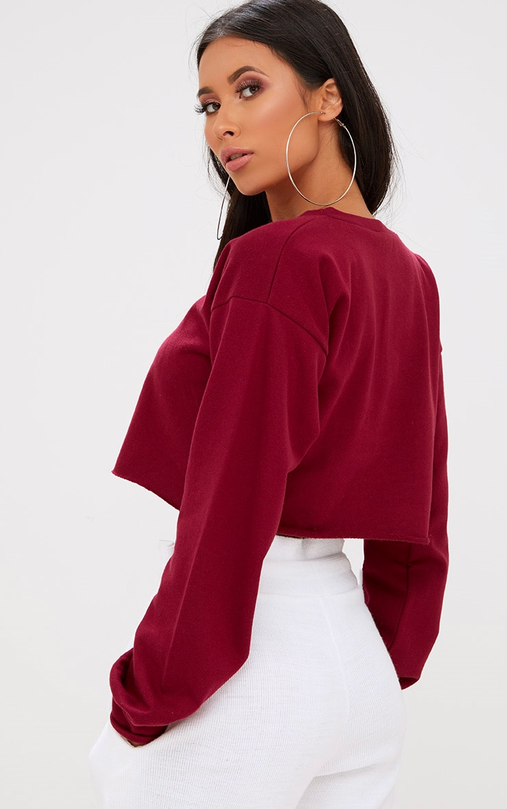 Maroon Cut Off Crop Longsleeve Sweater 2