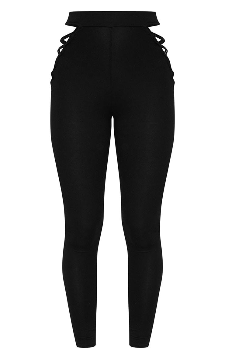 Black Jersey Lace Up Insert Leggings 3