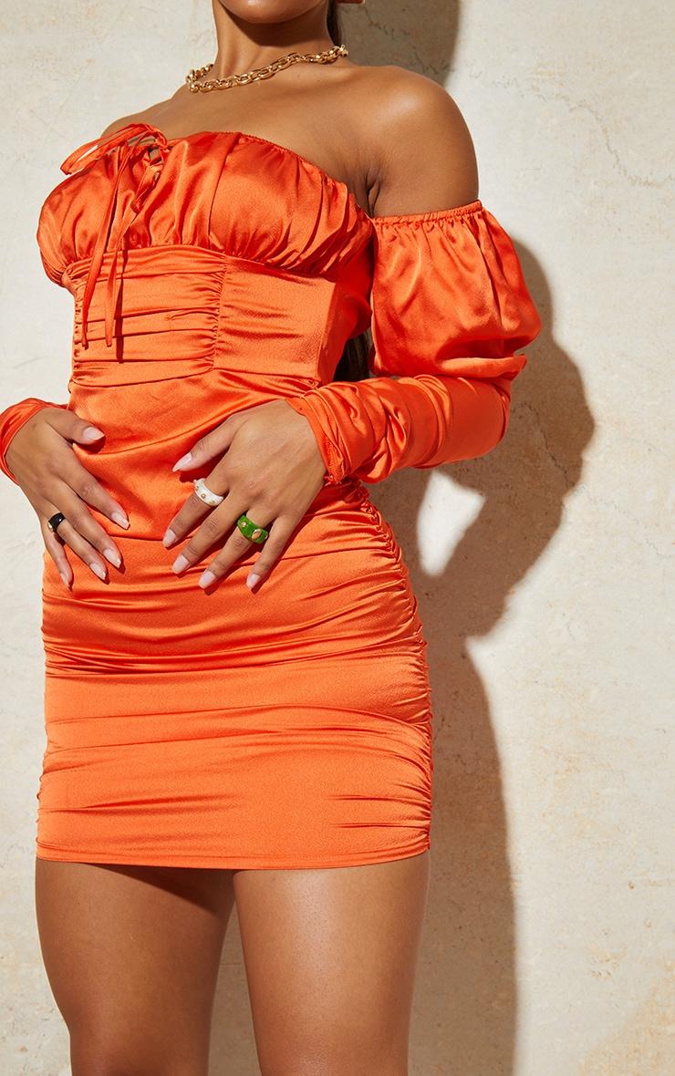 Orange Satin Tie Front Ruched Sleeve Bodycon Dress 4