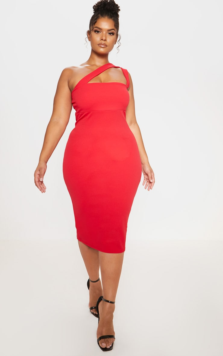 Red One Shoulder Strappy Midi Dress