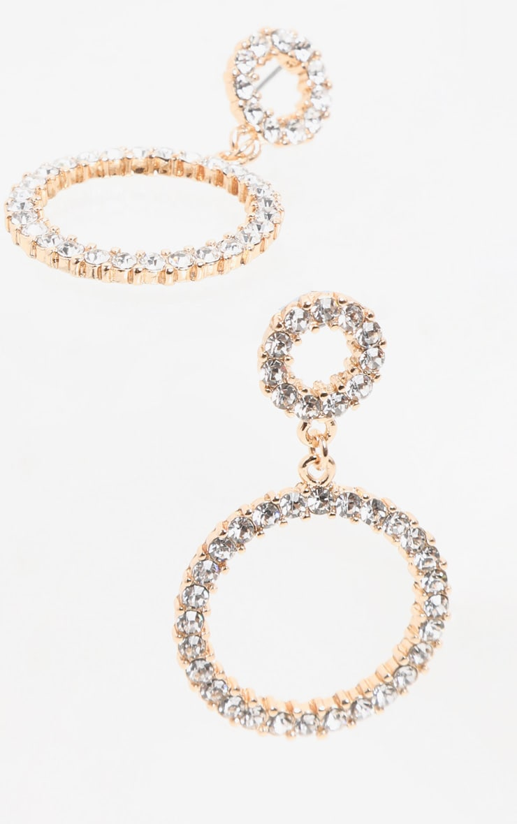Gold Diamante Double Ring Drop Earrings 3