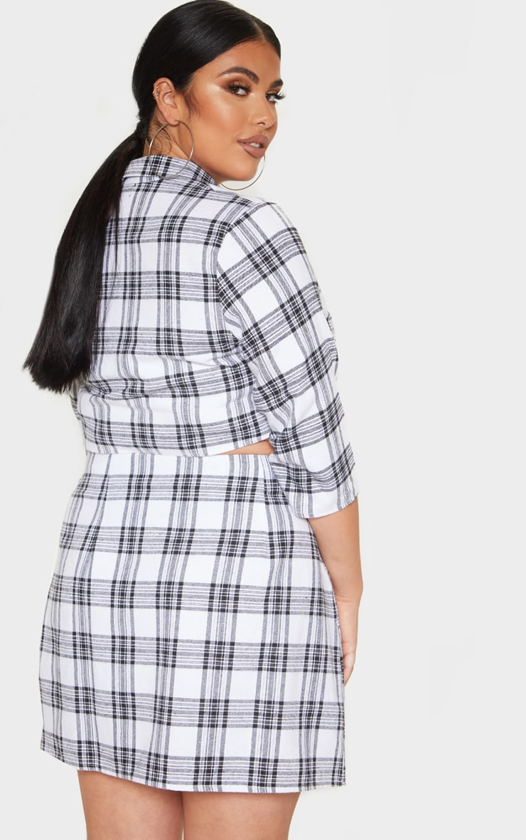 Plus Grey Check Button Detail Shirt Sleeve Crop Top  2