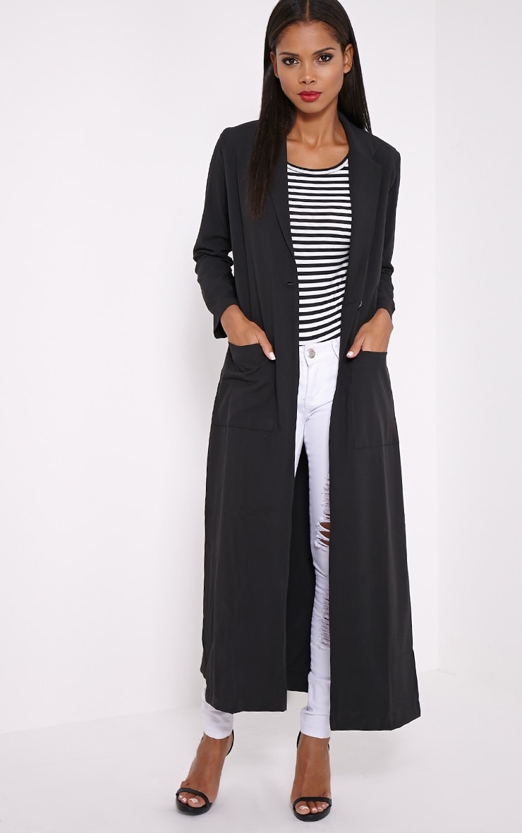 Lois Black Maxi Duster Coat  5