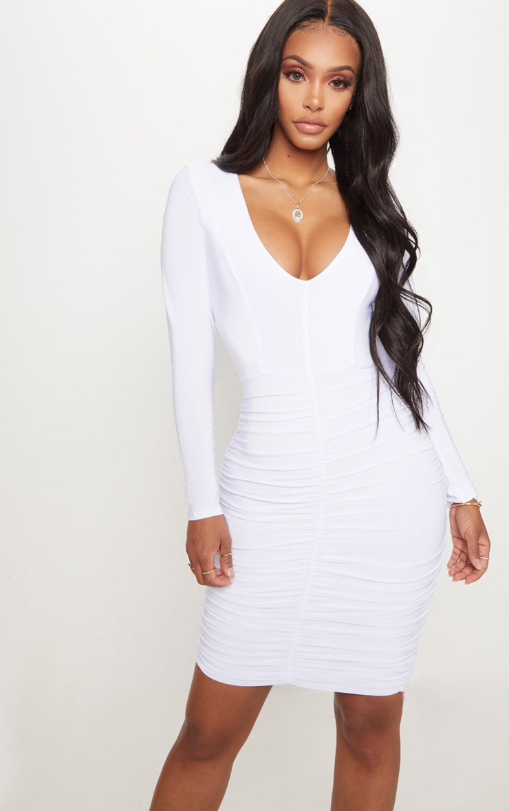 Shape White Ruched Slinky Mini Dress 1