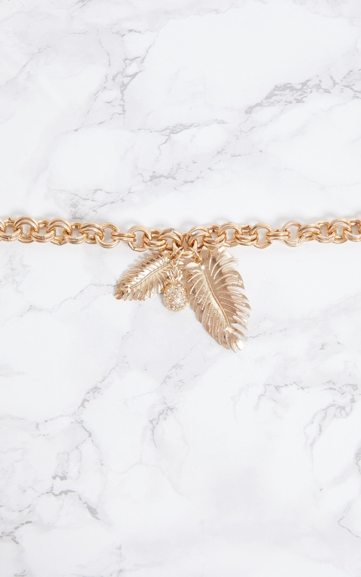 Gold Pineapple Leaf Chunky Chain Bracelet 5