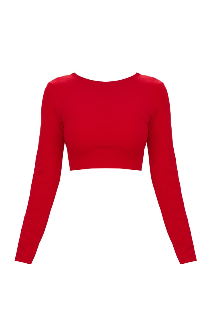 Red Lace Up Back Long Sleeve Crop Top  3