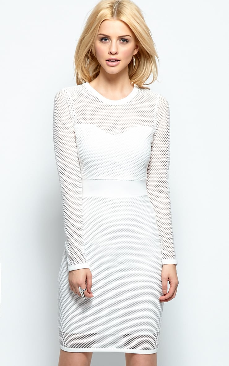 Brooke White Mesh Midi Dress 1