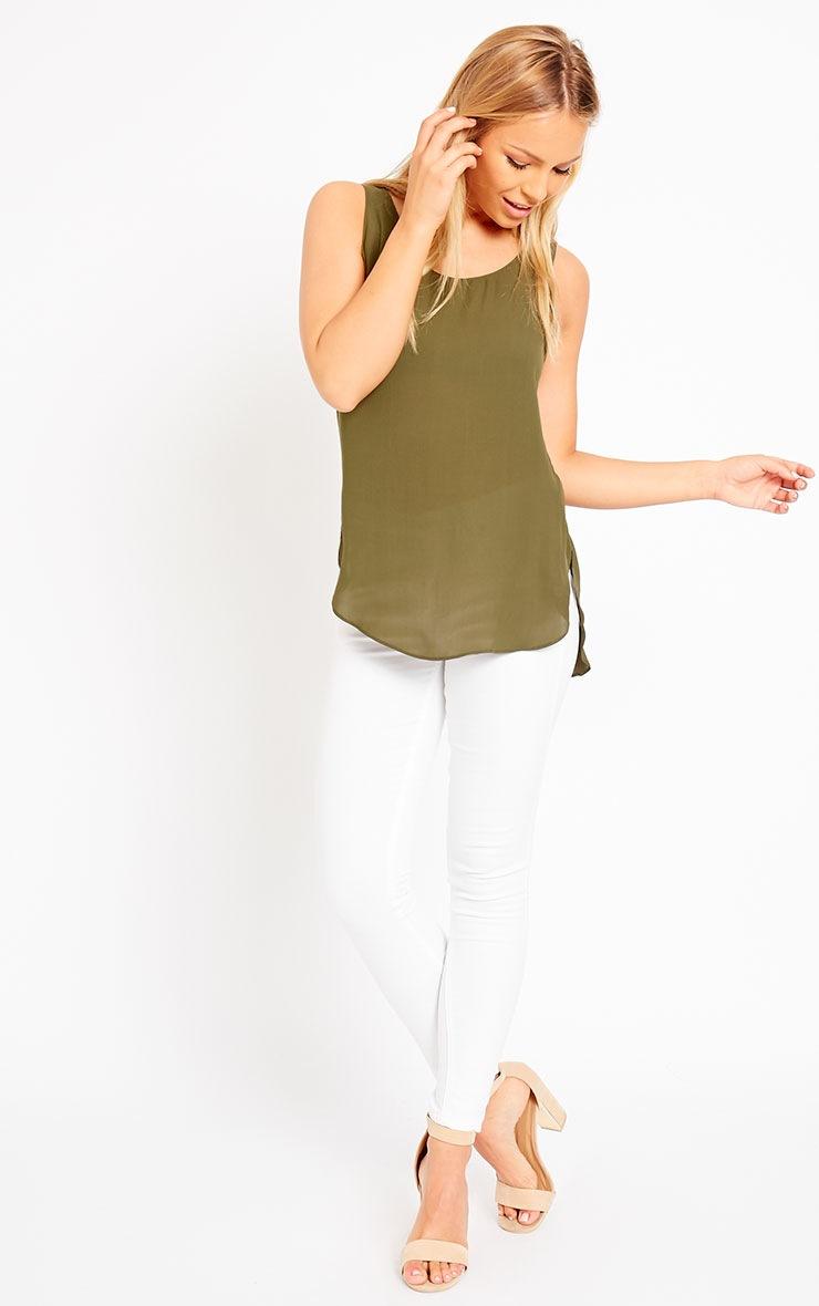 Enya Khaki Chiffon Vest  3