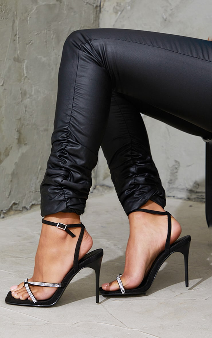 Black Toe Through Strappy Square Toe Heeled Sandals 1