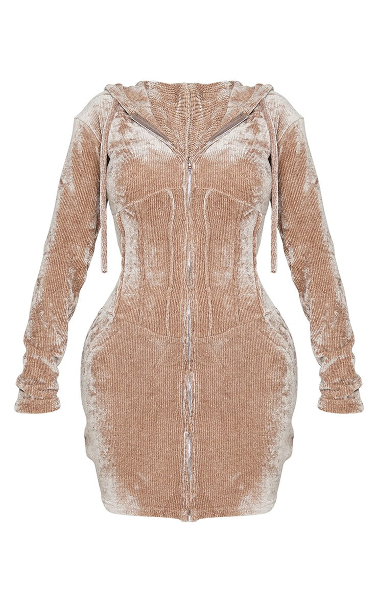 Shape Brown Rib Velour Corset Detail Hooded Bodycon Dress 5
