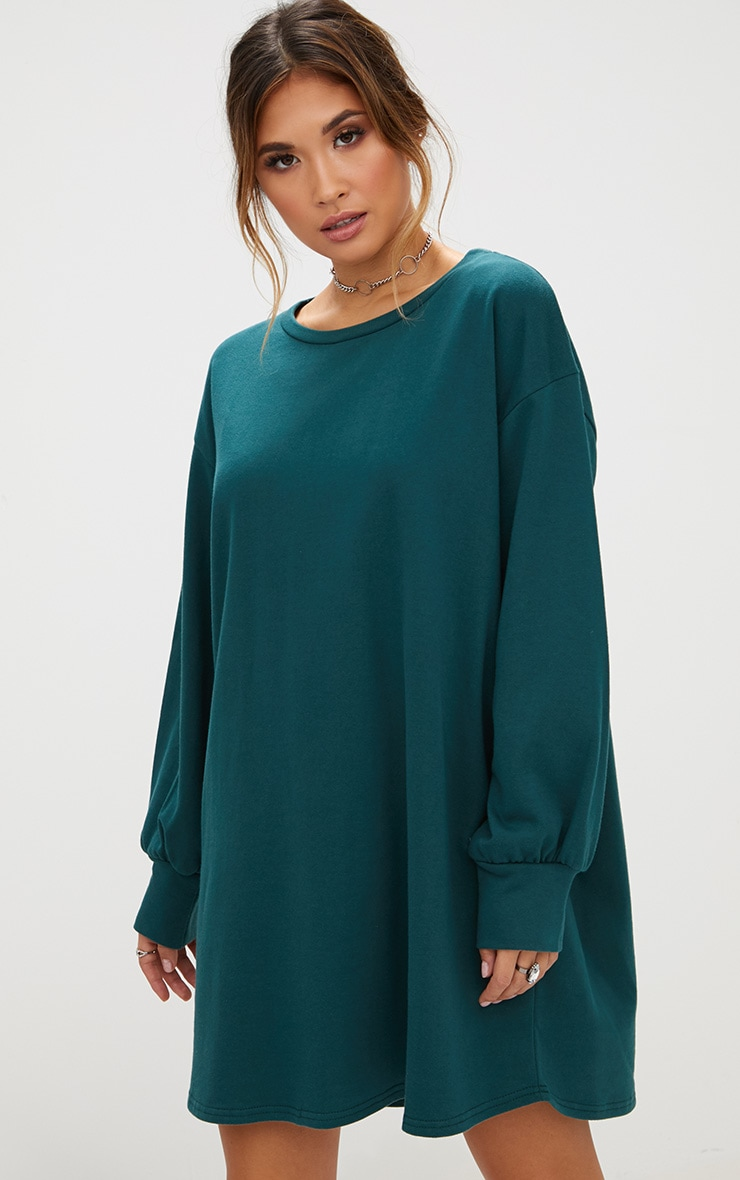 Forest Green Oversized Sweater Dress 4
