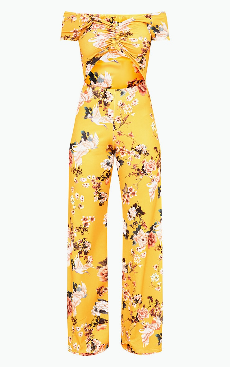 Yellow Floral Ruche Cut Out Jumpsuit 3