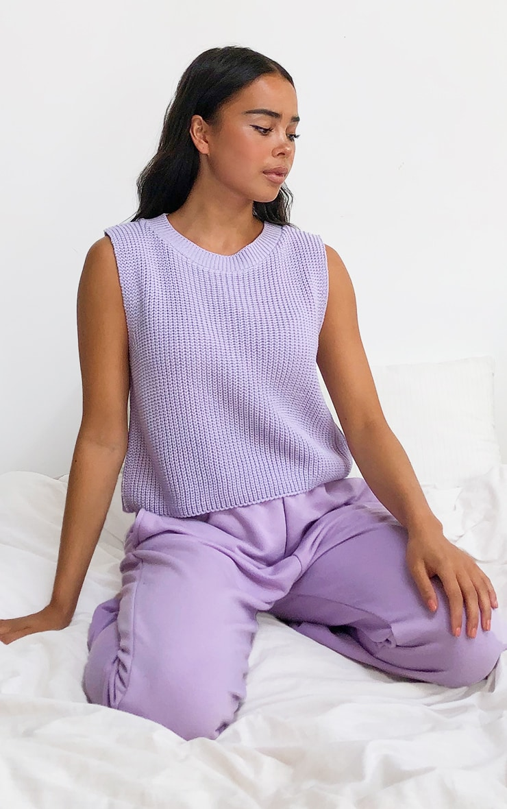 Lilac Sleeveless Slouchy Knitted Vest 3