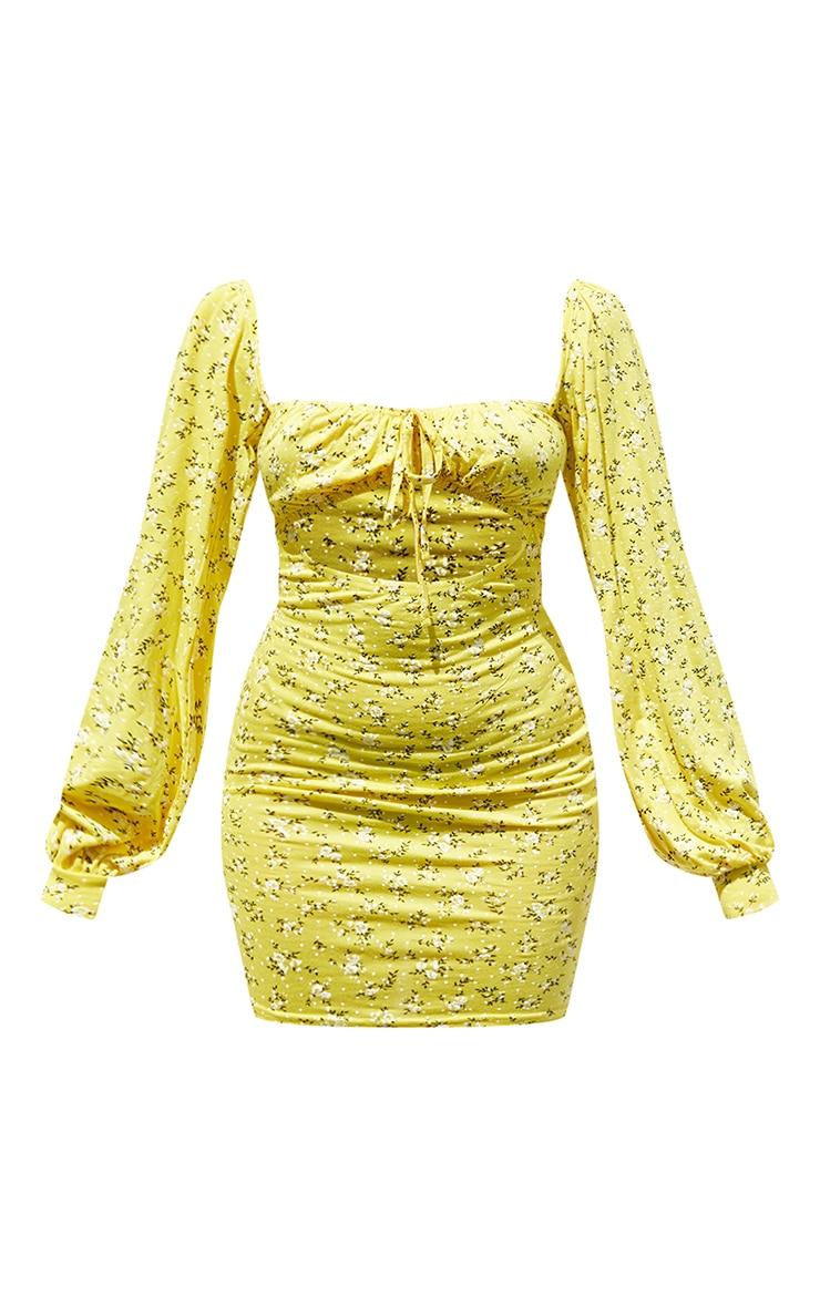 Petite Yellow Bardot Ditsy Floral Cut Out Mini Dress 5