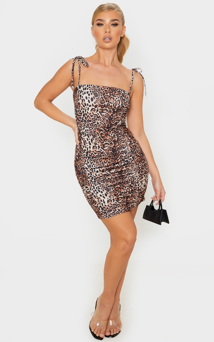 Tan Leopard Print Tie Strap Ruched Bodycon Dress 4