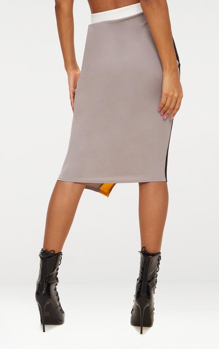 Grey Colour Block Midi Skirt  4
