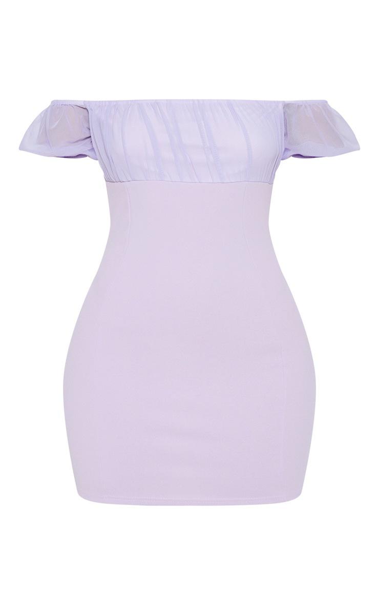 Lilac Ruched Bust Bardot Bodycon Dress 3