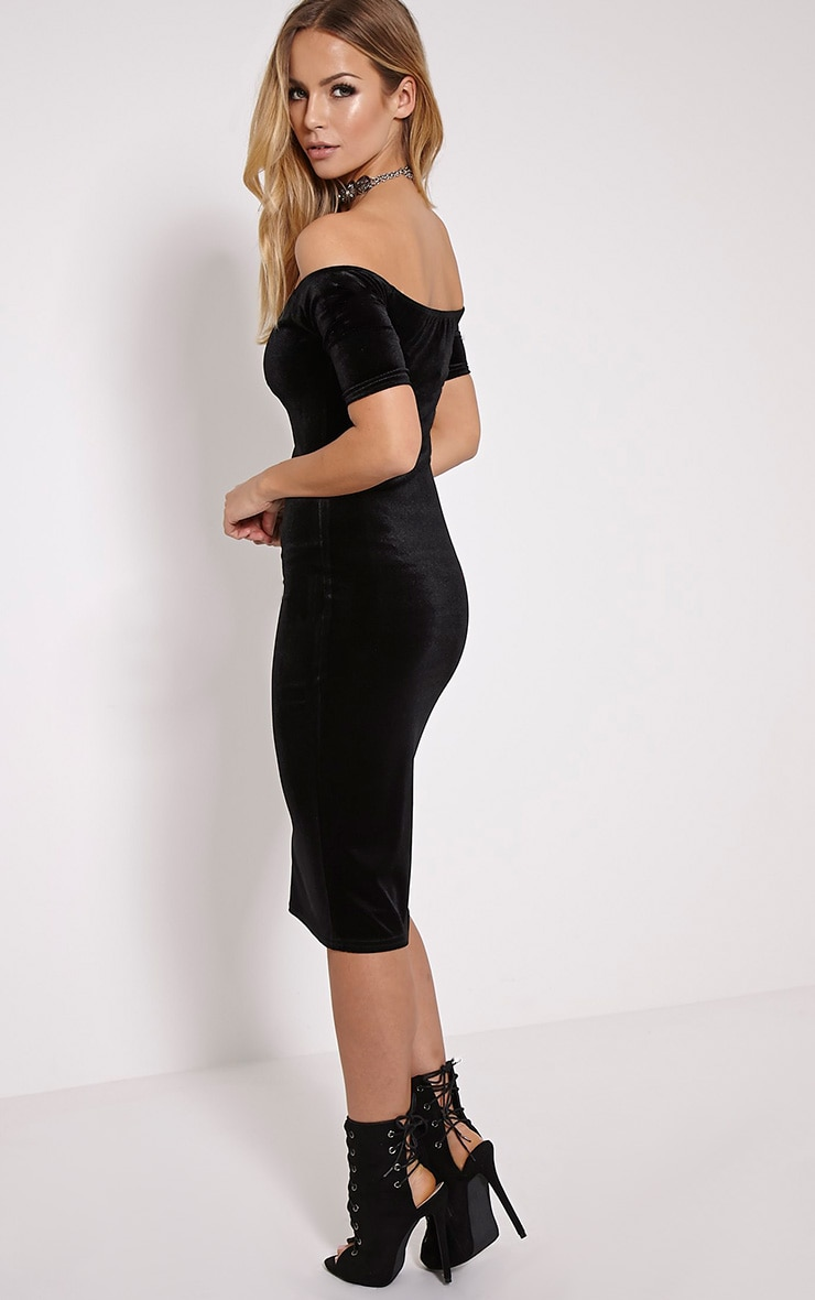 Leonie Black Velvet Bardot Midi Dress 4