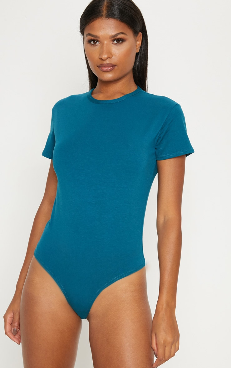 Teal Cotton Stretch T Shirt Thong Bodysuit 2