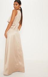 Champagne Bonded Slinky Overlay Split Front Maxi Dress 2