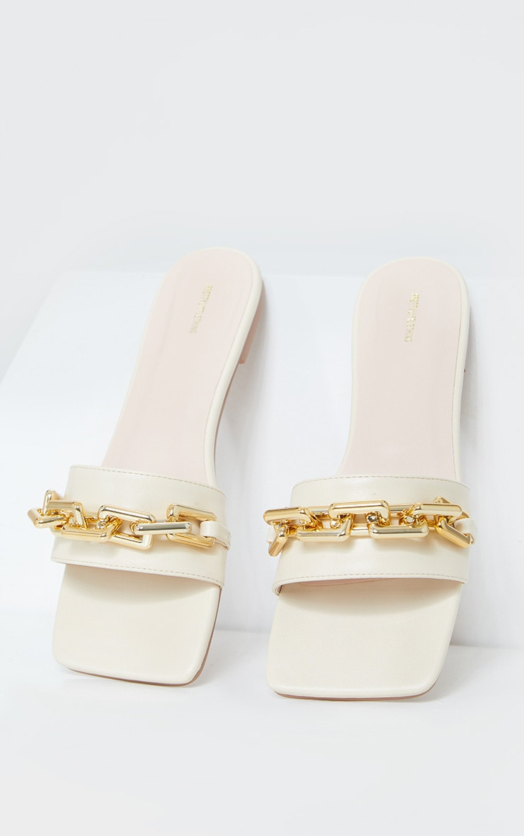 Cream Square Toe Chain Detail Faux Leather Mule Flat Sandal 3
