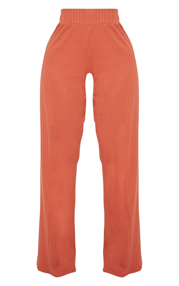 Shape Rust Ribbed Wide Leg Trousers 3