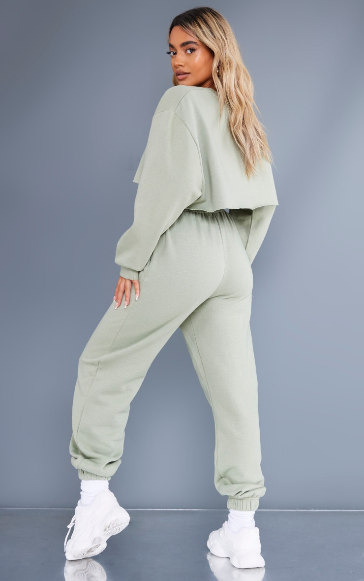 Recycled Petite Sage Green Wellness Crop Sweat and Jogger Set 2