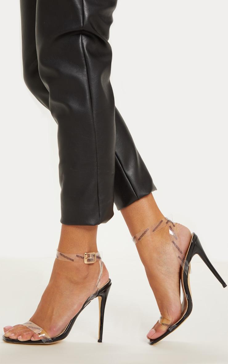 PLT Mono Square Toe Clear Strappy Sandal
