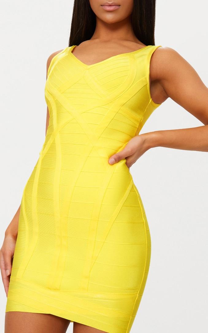 Yellow Bandage Plunge Wrap Skirt Bodycon Dress 5