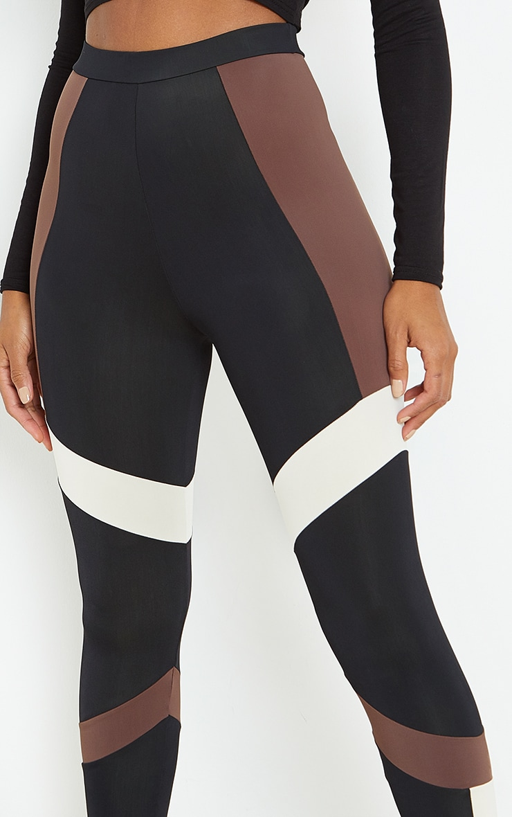 Brown Mono Panel Gym Leggings 4