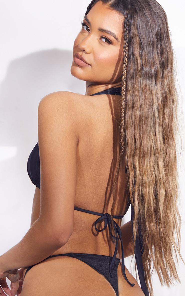 Black Strappy Halter Neck Bikini Top 2
