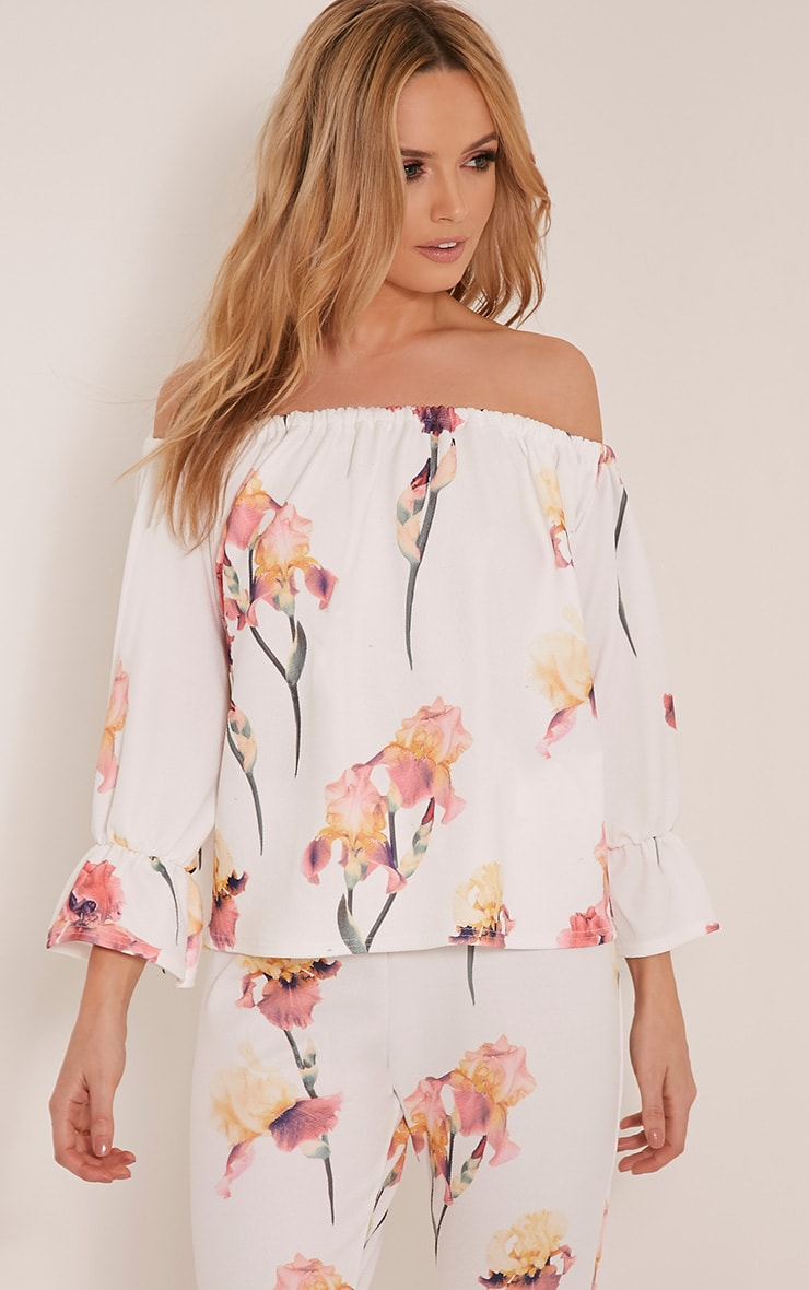 Natillia Cream Floral Bardot Top 1