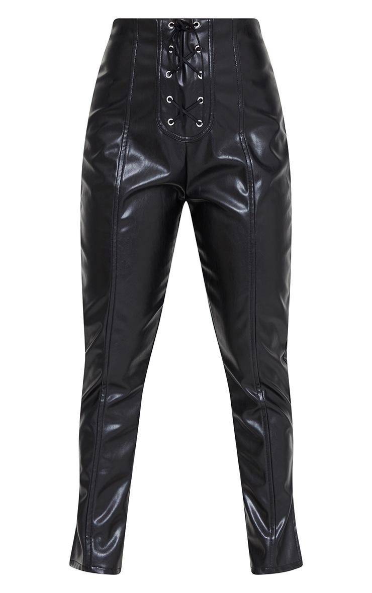 Petite Black Lace Up Detail Split Hem Faux Leather Trouser 5