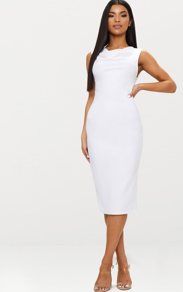 White Cowl Neck Sleeveless Midi Dress 1