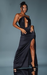 Black Satin Cross Neck Draped Maxi Dress 1