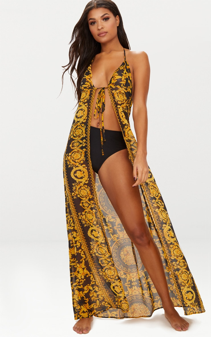 Black Chain Print Chiffon Maxi Beach Dress