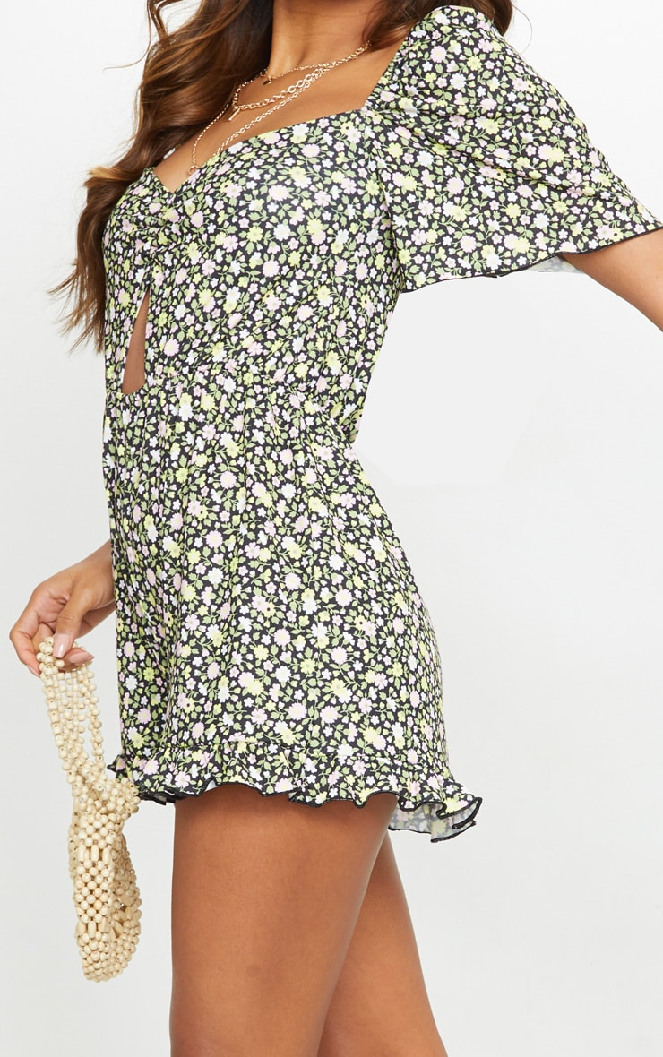 Black Ditsy Floral Ruched Cut Out Romper 4