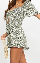 Black Ditsy Floral Ruched Cut Out Playsuit 4