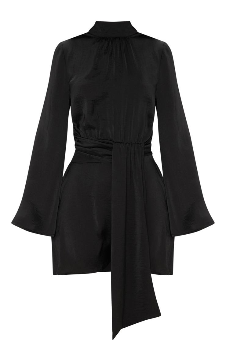 Black Hammered Satin High Neck Drape Bodycon Dress 3