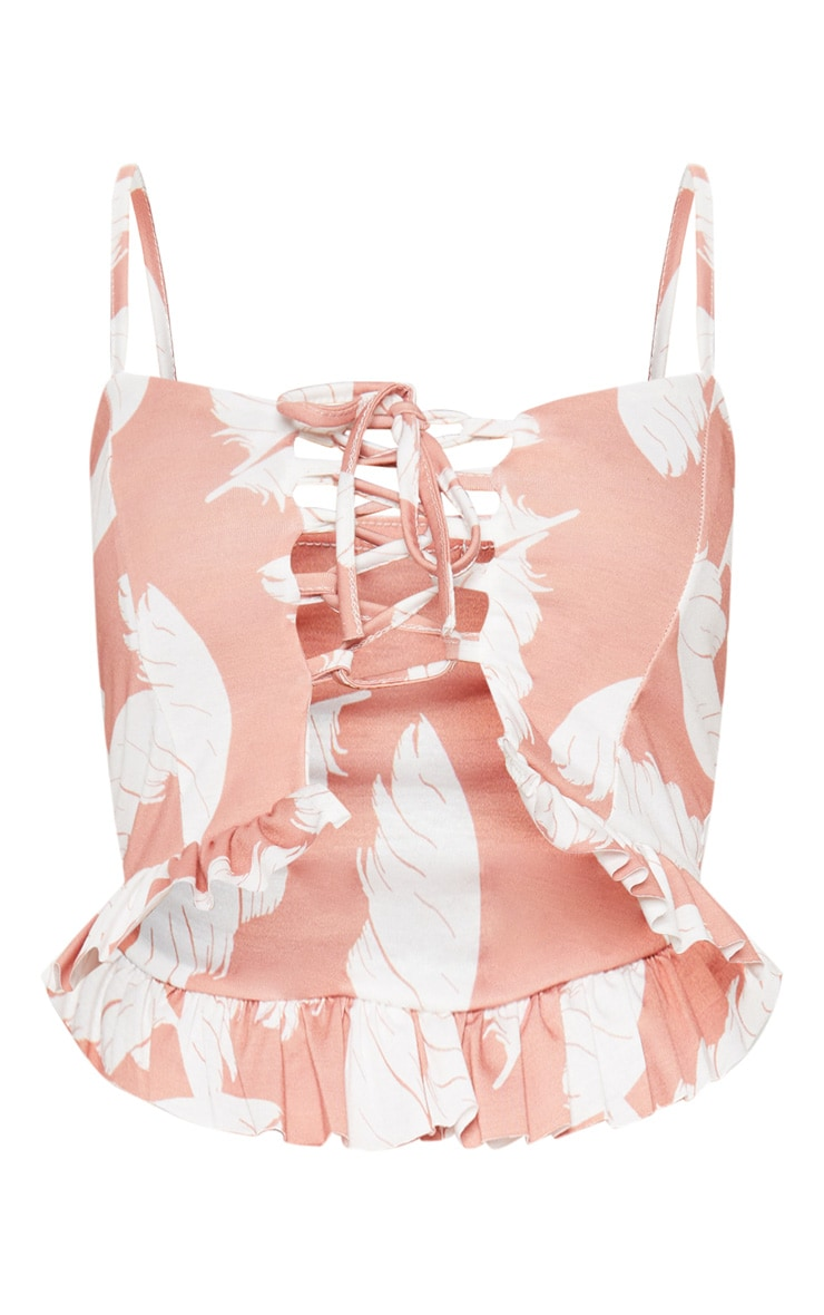 Nude Palm Print Lace Up Crop Top 3