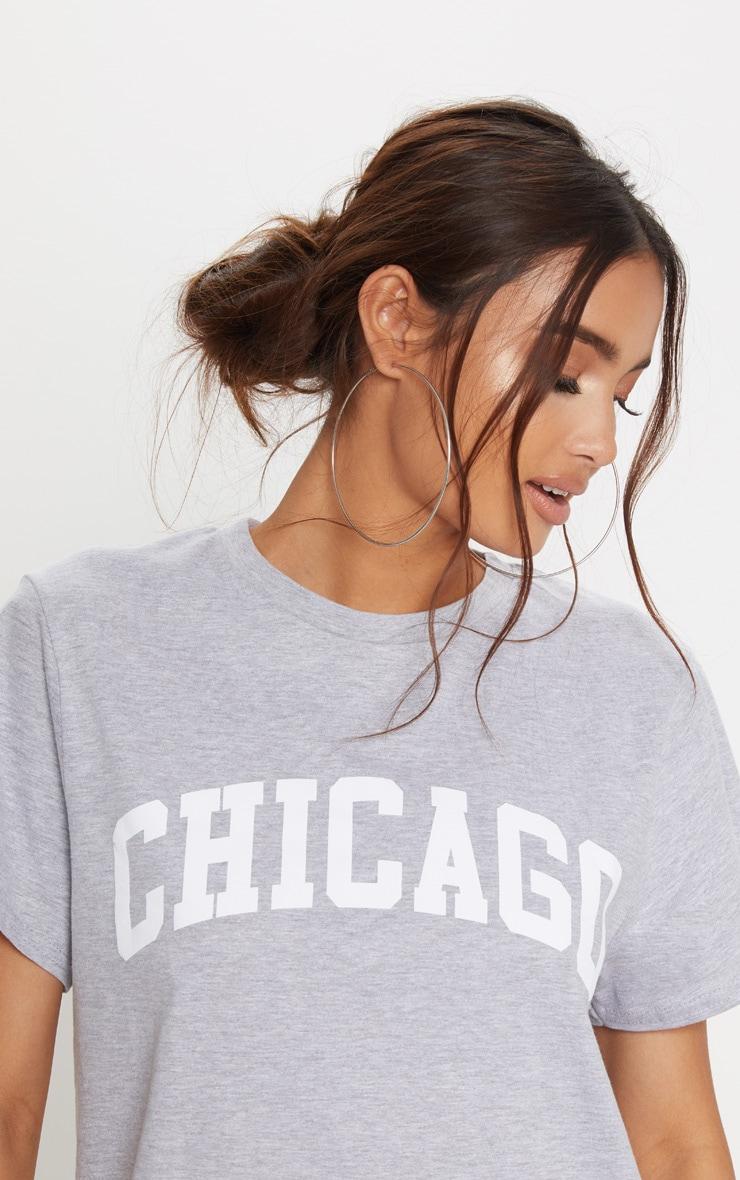 Chicago Grey Oversized T Shirt Dress 5