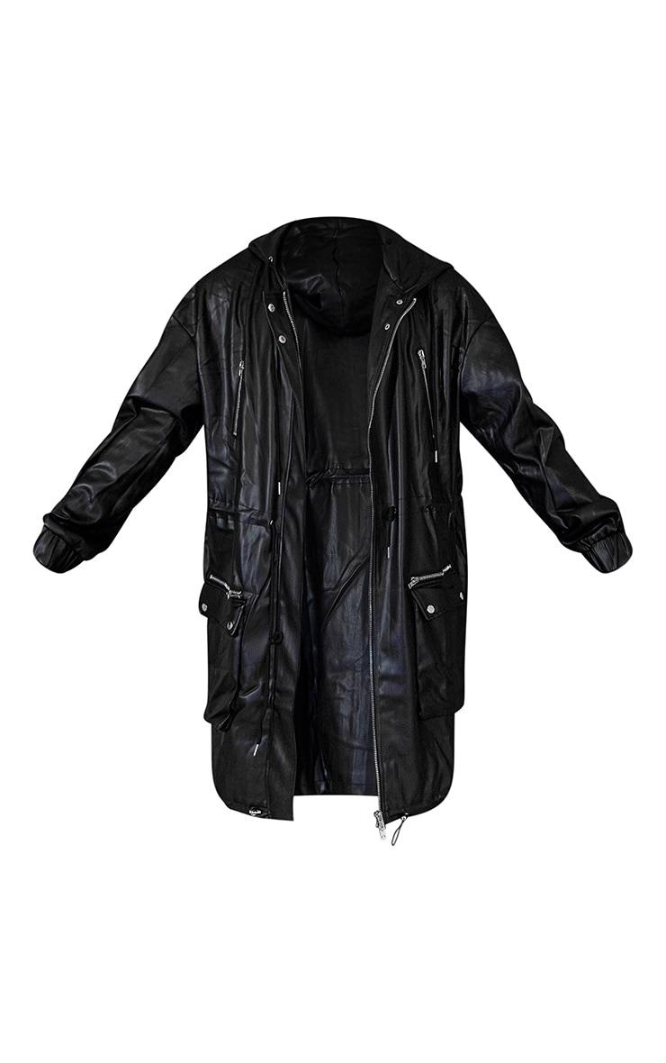Black Unisex PU Oversized Midi Coat 6
