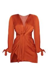 Rust Satin Twist Front Open Sleeve Wrap Dress 1
